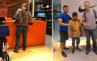 Foreigner Buys New Pair Of Nike Shoes For Sampaguita Vendor He Met Along The Street .. And Goes Viral