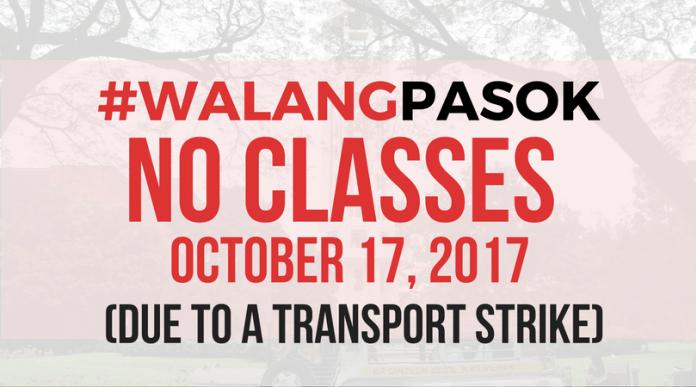 #WalangPasok: Class suspensions for October 17, 2017