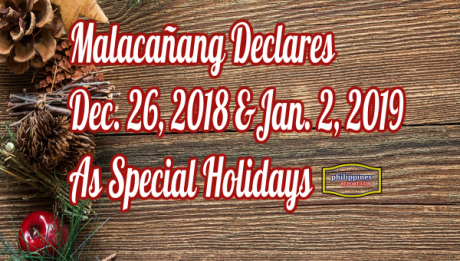 Malacañang Declares Dec. 26 & Jan. 2 As Special Holidays