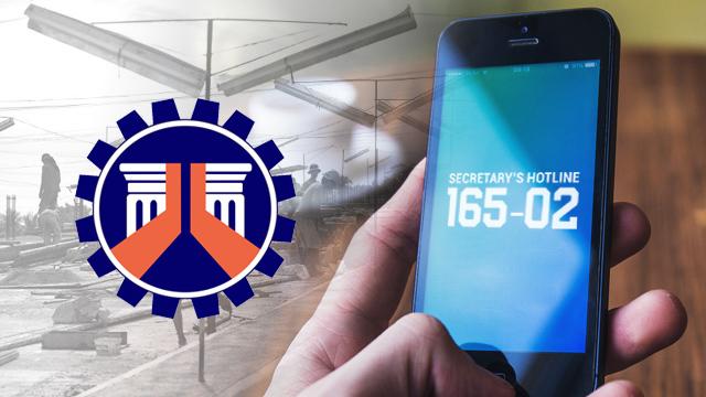 DPWH Secretary's hotline now working