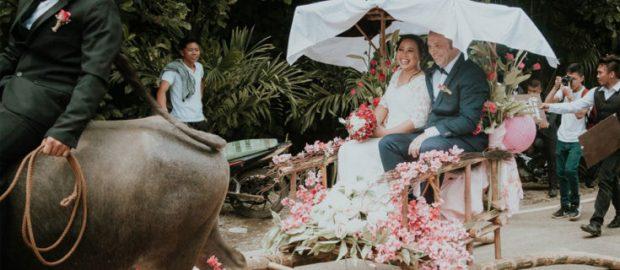 Ilongga-Danish couple uses Carabao Carroza as wedding vehicle