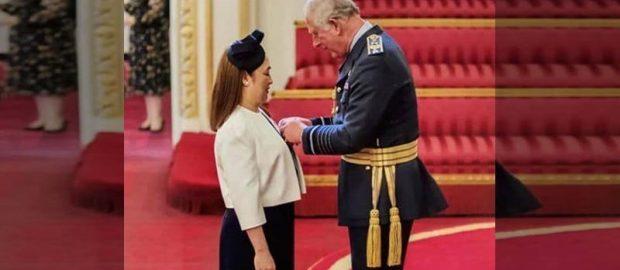 Prince Charles pins Order of British Empire Award to Filipino nurse