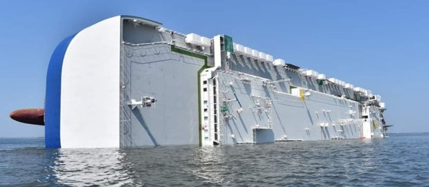 capsized cargo ship